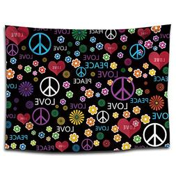 YQ Park Tapestry Peace Sign Flowers Love Print Tapestry Wall