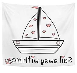 Emvency Tapestry Polyester Fabric Print Home Decor Sail Away