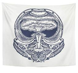 Emvency Tapestry Polyester Fabric Print Home Decor Gas Mask