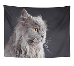 Emvency Tapestry Print Brown Veterinary Grey Cat Portrait in
