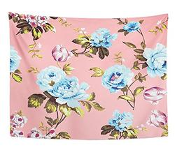 Emvency Tapestry Shabby Chic Vintage Roses Tulips and Forget
