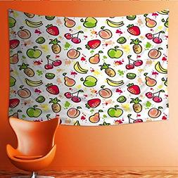 Tapestry Table Cover Bedspread Beach Towel Hand Drawn Fruits