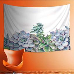 Tapestry Table Cover Bedspread Beach Towel Watercolor Succul