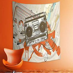 tapestry wall hanging urban background