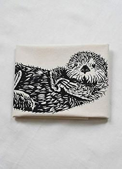 Tea Towel - Otter Design in Black - Organic Cotton - Flour S