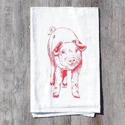 Tea Towel Hand Screen Printed Flour Sack Cotton - Red Pig