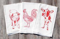 """Tea Towels Set of 3 - 100% Cotton Flour Sack - 26"""" x 25"""" - H"""