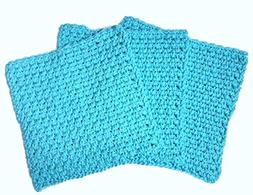 Teal Blue Crochet Square Dishcloth Washcloth Set of 3