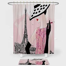 Teen Room Shower Curtain And Floor Mat Combination Set Sexy