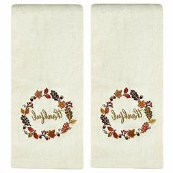 Thankful Wreath Embroidered Hand Towels in Natural