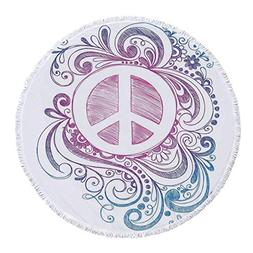 iPrint Thick Round Beach Towel Blanket,Groovy Decorations,Cl