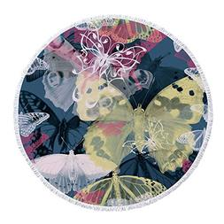iPrint Thick Round Beach Towel Blanket,Abstract,Colorful But