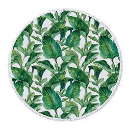 Thick Round Beach Towel Blanket,Plant,Equatorial Leaves in H