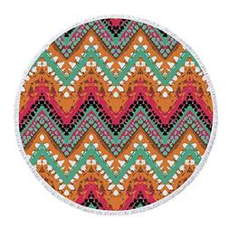 iPrint Thick Round Beach Towel Blanket,Tribal,Hand Paint Eth