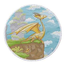 iPrint Thick Round Beach Towel Blanket,Dragon,Fantastic Wing