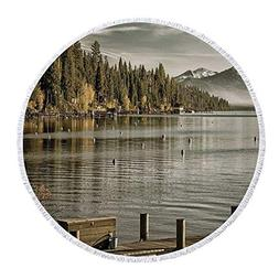 iPrint Thick Round Beach Towel Blanket,Forest,Trees at Lakes