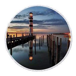 iPrint Thick Round Beach Towel Blanket,Lighthouse Decor,Calm