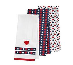 Living Quarters Three Pack Heart And Star Kitchen Towels