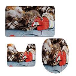 iPrint 3 Piece Toilet Cover Set,Cats,Kittens Mittens Newborn