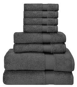 HomeLabels Premium 8 Piece Towel Set ; 2 Bath Towels, 2 Hand