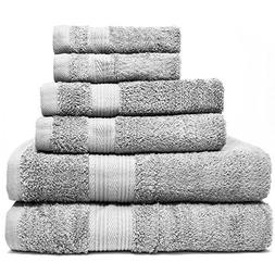 Zeppoli 6-Piece Towel Set - 100% Cotton Grey Towels - 2 Bath
