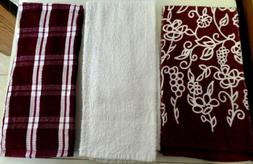 TOWELS-KITCHEN / HAND --BURGUNDY OR WHITE