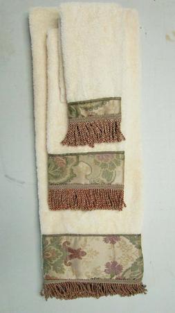 Croscill Towels Set 3 Pieces Bath Hand Fingertip Beige with