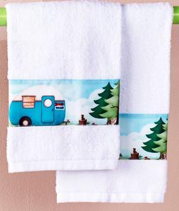 Travel Themed Hand Towels Set of 2 Trailer RV Camper Print B