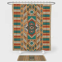 Tribal Shower Curtain And Floor Mat Combination Set Ethnic A