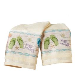 Tropical Hand Towels Set Beach Themed Seashells Flip Flops B
