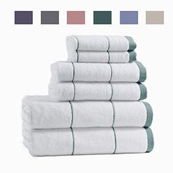 6-Piece Cotton Spa Bath Towel Set. Fade Resistant 100% Turki