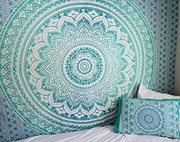 Large Turquoise Green Ombre Tapestry Queen Teal Aqua Hippie