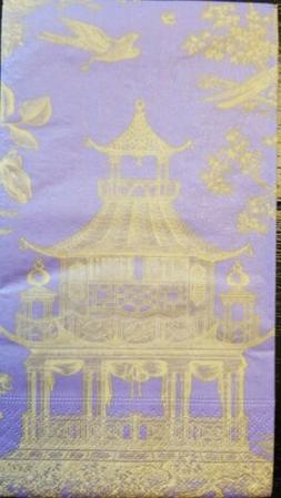 "TWO  Caspari ""Chinoiserie Toile Pagoda"" Guest Towel Napkins"