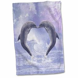 3dRose Two Kissing Dolphins Forming a Heart in a Purple Ocea