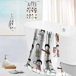 Ultra Soft Bathroom Towels Set collection of cute doodle kid