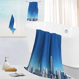 aolankaili Ultra Soft Bathroom Towels Set city skyline with