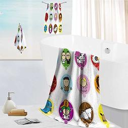 aolankaili Ultra Soft Bathroom Towels Set colorful cartoon s