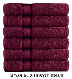 Cotton Craft Ultra Soft 6 Pack Hand Towels 16x28 Burgundy we