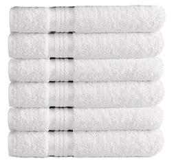 Cotton Craft Ultra Soft 6 Pack Hand Towels 16x28 White weigh