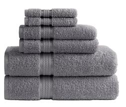 Cotton Craft Ultra Soft 6 Piece Towel Set Charcoal, Luxuriou