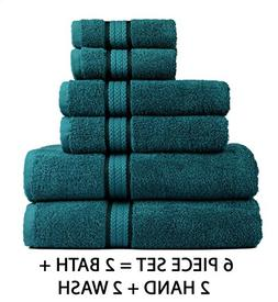 Cotton Craft Ultra Soft 6 Piece Towel Set Teal, Luxurious 10