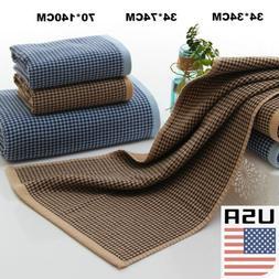 US Stock Cotton Soft Towels Home Hand Towel Plaid Checks Pri