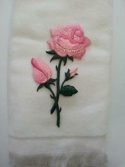 Valentine rose flower fingertip hand bath TOWEL FREE SHIP wh