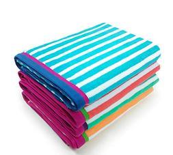 KAUFMAN - Velour Racing Stripe Beach & Pool Towel 4-Pack - 3