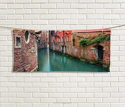 Anniutwo Venice,Hand Towel,Scenic Water Canal and Old Histor