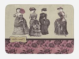 Ambesonne Victorian Bath Mat by, Ladies Clothes Fashion Hist