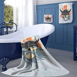 WolfgangDecor Viking Customized Bath Towel Combination Carto