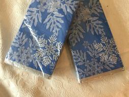 VINTAGE 2x NIP Snowflake  Blue Guest Hand Towels Napkins Par