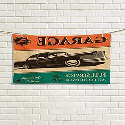 Chaneyhouse Vintage,Hand Towel,Garage Retro Poster with Clas