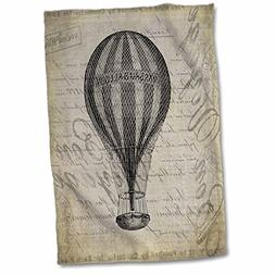 3dRose Vintage Hot Air Balloon in Brown Grey Grunge Style To